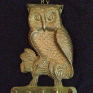 Owl solid brass key hanger